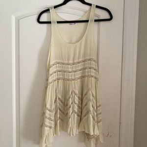 Free People Voile and Lace Trapeze Slip in Tea